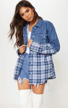PrettyLittleThing Mid Wash Check Contrast Denim Shirt