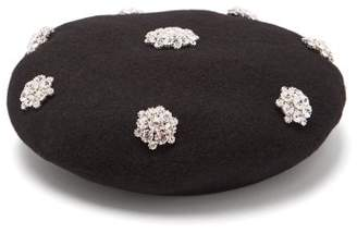 Benoit Missolin Crystal Embellished Wool Beret - Womens - Black
