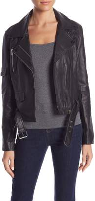 Romeo & Juliet Couture Front Zip Sheep Leather Jacket
