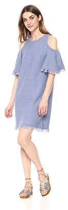 Milly Women's Denim Knit Fringe Dress