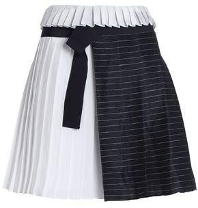 Victoria Beckham Victoria Paneled Striped Linen-Blend And Satin Mini Skirt