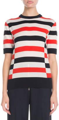 Victoria Beckham Victoria Crewneck Short-Sleeve Horizontal-Stripe Pullover Sweater