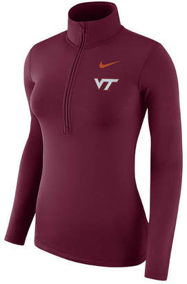 Nike Women Virginia Tech Hokies Hyperwarm Quarter-Zip Pullover