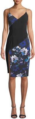 Black Halo Deetz V-Neck Sleeveless Colorblock Printed Dress