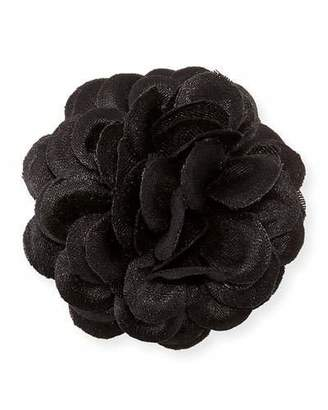 hook + ALBERT Satin Dahlia Flower Lapel Pin, Black