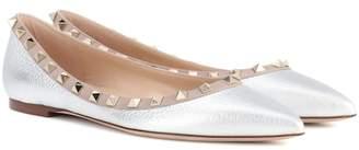 Valentino Rockstud metallic leather ballerinas