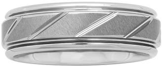 JCPenney MODERN BRIDE Personalized Mens 7mm Comfort Fit Tungsten Carbide Diagonal Groove Wedding Band