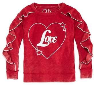 Chaser Girls' Vintage-Wash Ruffled Love Sweatshirt - Little Kid, Big Kid