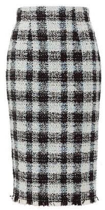 Alexander McQueen Checked Tweed Pencil Skirt - Womens - Light Blue