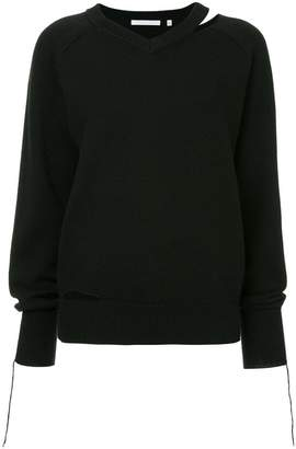 Helmut Lang slash V-neck sweater