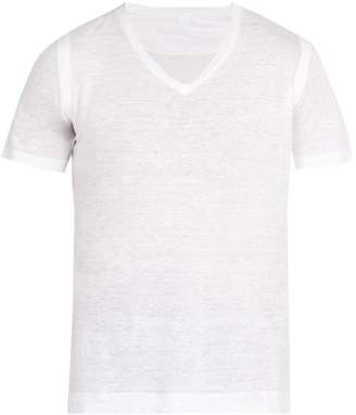 120% Lino V Neck Linen Jersey T Shirt - Mens - White