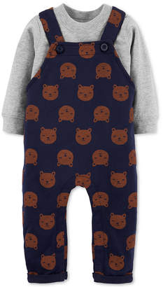 Carter's Carter Baby Boys 2-Pc. Cotton T-Shirt & Bear-Print Overalls Set