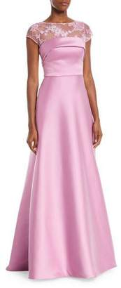 Theia Super Stretch Threadwork Ball Gown