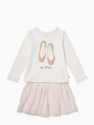 Kate Spade Toddler glitter flats skirt set