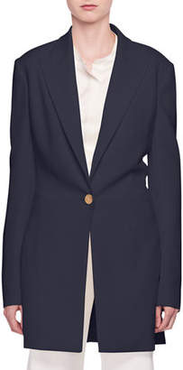 The Row Jaymin One-Button Long Crepe Jacket