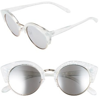 Women's Bp. 46Mm Round Cat Eye Sunglasses - Marble Clear/ Silver $12 thestylecure.com
