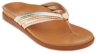 Vionic Leather Triple-Strap Thong Sandals- Catalina