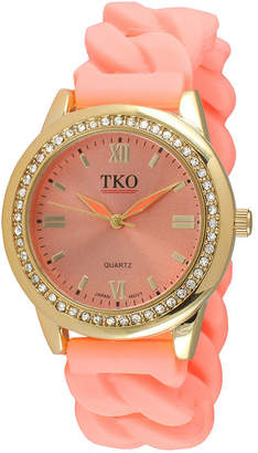 JCPenney TKO ORLOGI Womens Crystal-Accent Chain-Link Light Pink Silicone Strap Stretch Watch