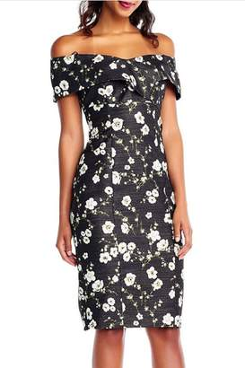 Adrianna Papell Floral Printed Metallic Dress