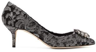 Dolce & Gabbana Belluci Crystal Embellished Lace Pumps - Womens - Dark Grey