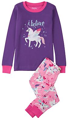 Hatley Children's I Believe In Unicorns Applique Pyjamas, Purple