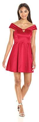 Paris Sunday Women's Off Shoulder Fit and Flare Sateen Dress