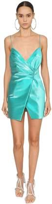 Area Wrap Effect Stretch Lame Dress
