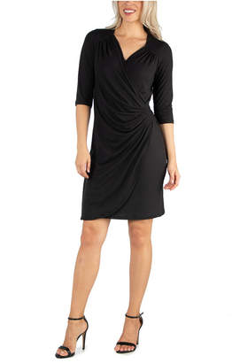 24seven Comfort Apparel Women Elbow Sleeve Little Wrap Dress