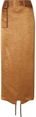 Ann Demeulemeester Wrap-effect Belted Crinkled-satin Midi Skirt - Gold