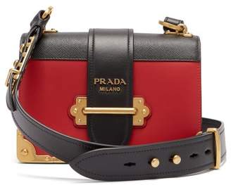 Prada Cahier Leather Cross Body Bag - Womens - Red