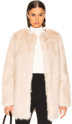 Helmut Lang Faux Fur Coat in Oatmeal | FWRD