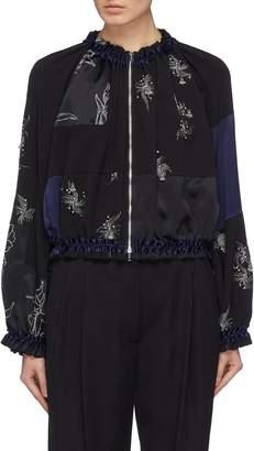 3.1 Phillip Lim Embellished ruched patchwork silk bomber jacket