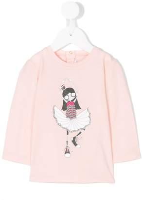 Little Marc Jacobs ballerina print longsleeved T-shirt