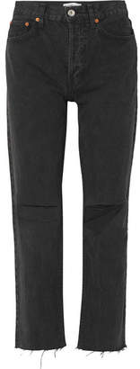 RE/DONE Originals High-rise Stove Pipe Distressed Straight-leg Jeans - Black