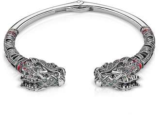 Thomas Sabo Blackened Sterling silver, Glass-ceramic Stones, Synthetic Corundum and Cubic Zirconia Dragon Bangle