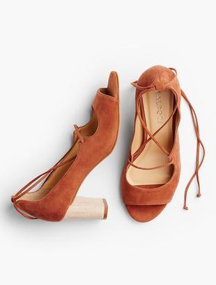 Hillary Ankle-Tie Peep-Toe Pumps-Suede $139 thestylecure.com