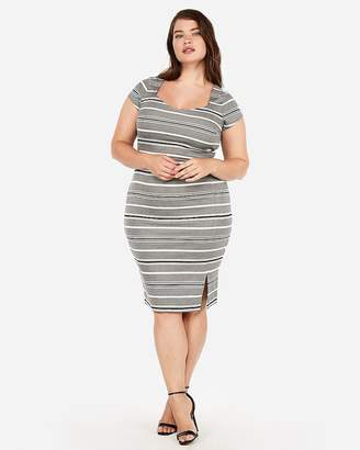 Express Striped Puff Shoulder Sweetheart Sheath Dress