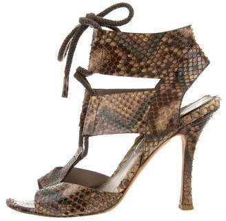 Sergio Rossi Snakeskin Lace-Up Sandals