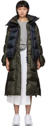 Sacai Navy and Khaki Down Nylon Puffer Coat