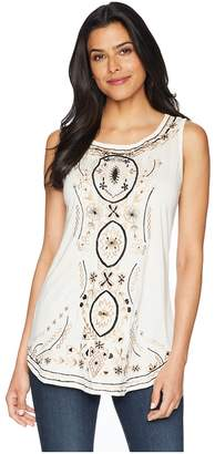 Scully Bethia Classy Embroidered Tank with Sewn On Stone Accents Women's Clothing