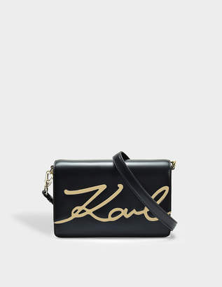Karl Lagerfeld K/Signature Shoulder Bag in Black Smooth Calf Leather