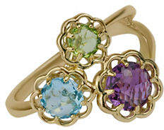 Tag Heuer FINE JEWELLERY Swiss Blue, Amethyst, Peridot and 14K Yellow Gold Flower Ring