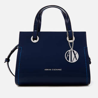 Armani Exchange Women s Patent Logo Small Tote Bag - Blue 336e120a92