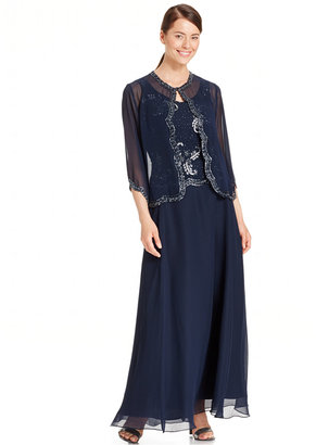 J Kara Embellished Popover Chiffon Gown and Jacket $229 thestylecure.com