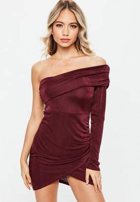 Missguided Purple Slinky On Shoulder Bodycon Ruched Mini Dress