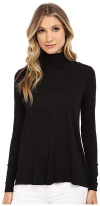 Three Dots L/S Relaxed High Low Turtleneck Women's Long Sleeve Pullover