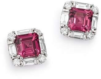 Bloomingdale's Rhodolite Garnet & Diamond Square Earrings in 14K White Gold - 100% Exclusive