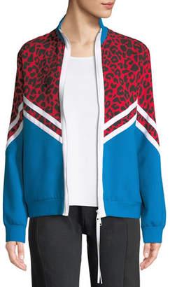 No.21 No. 21 Colorblock Cheetah Zip-Front Jacket