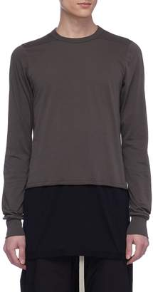 Rick Owens Colourblock panelled hem long sleeve T-shirt