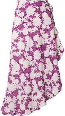 Miguelina Liviona Ruffled Floral-print Cotton-voile Wrap Skirt - Violet